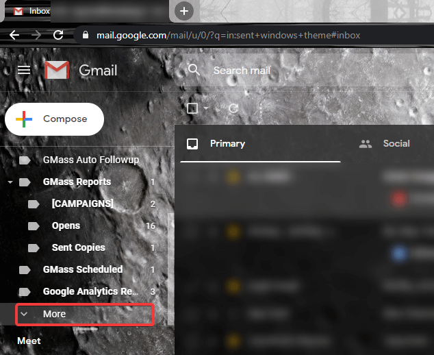 Gmail more options