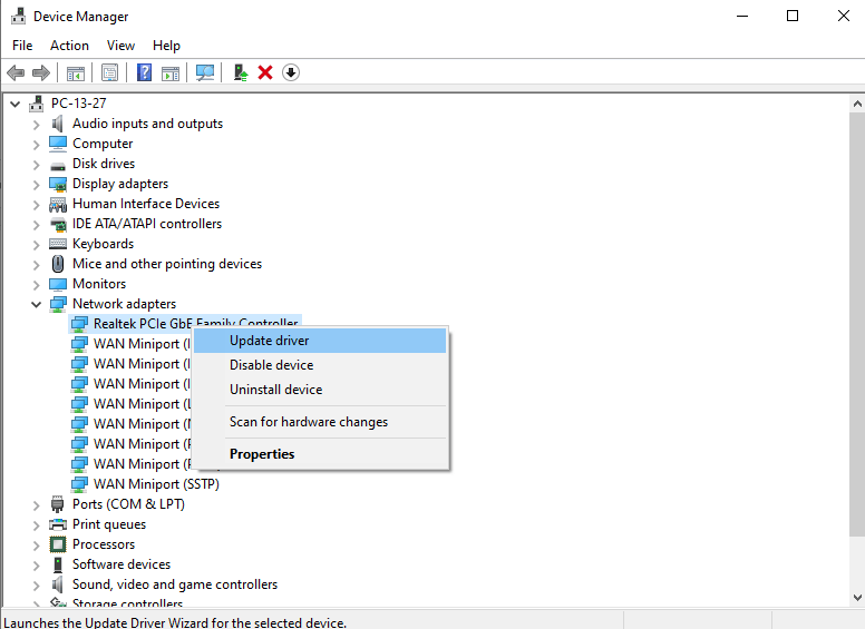 Go to Update Driver in Device Manager