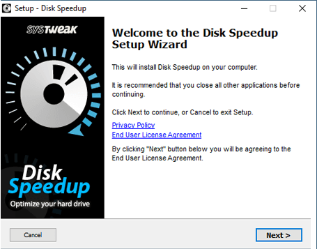 Install DiskSpeed up By Systweak tool