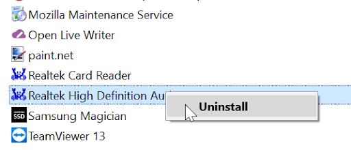 Reinstall Audio Drivers in windows