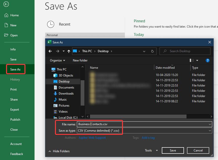 Save excel sheet as csv file