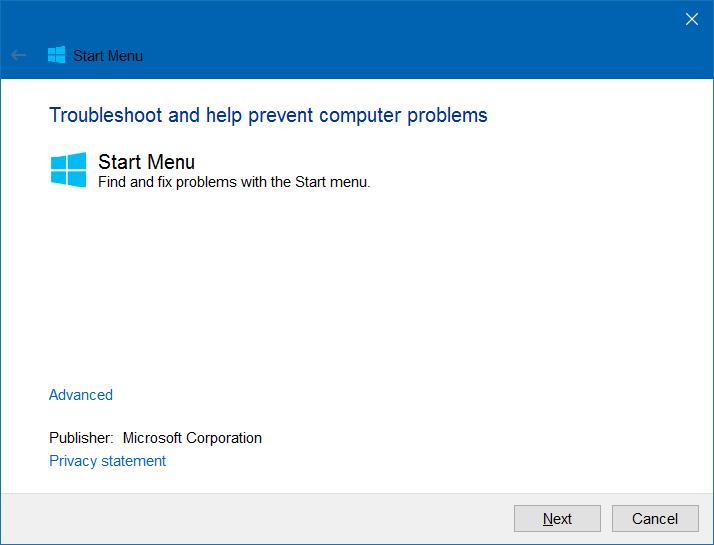 Start menu option