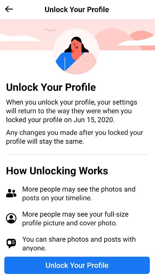To unlock Profile tap on Unlock Your Profile button