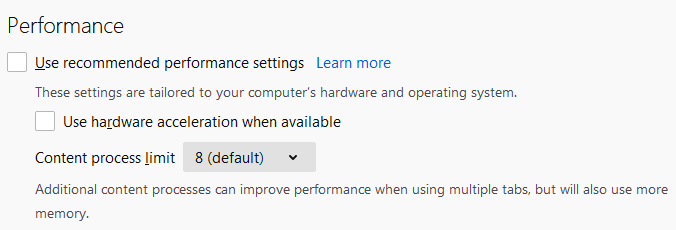 """Uncheck Use hardware acceleration when available""""."""