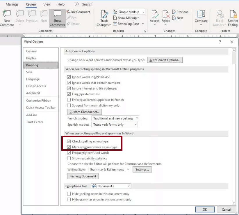 microsoft word spell check not working