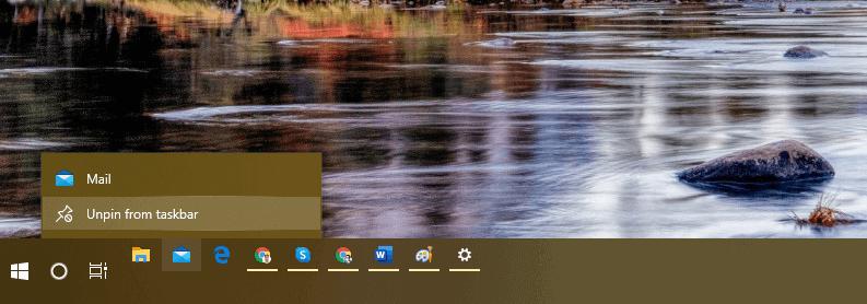 unpin from taskbar