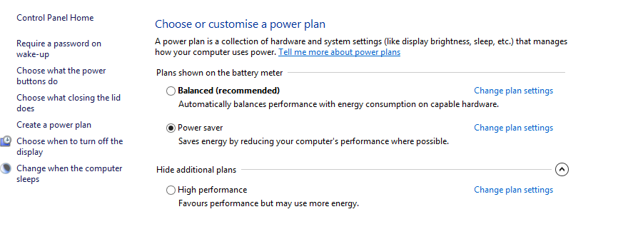Change Power Options