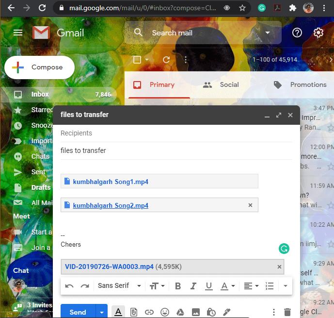 transfer files through Emails