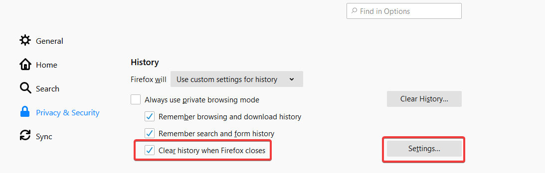 Clear History When Firefox closes