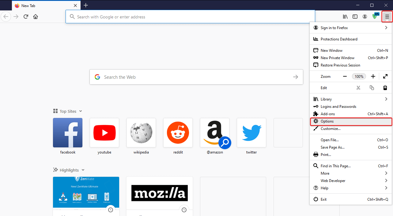Select Options in Firefox mozilla