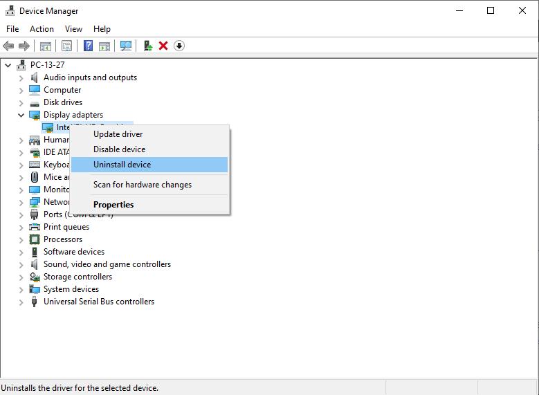 إلغاء تثبيت تعريف كارت الشاشة | حل مشاكل كارت الشاشة بعد تحديث ويندوز 10