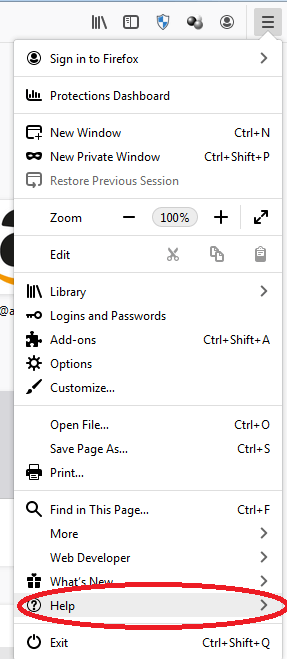 Firefox menu options