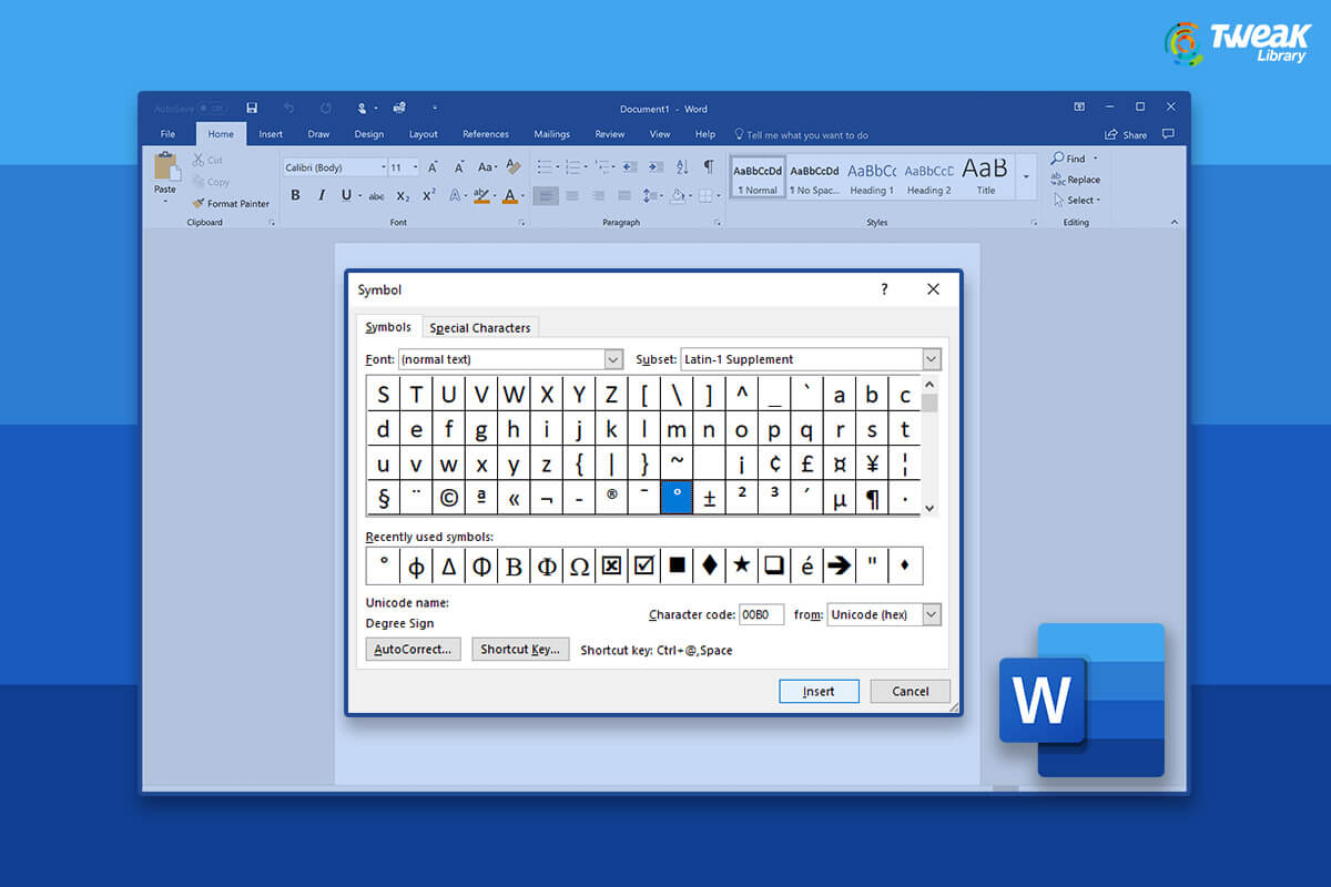 How to Insert the Degree Symbol in Microsoft Word